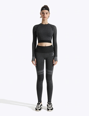 High_waist_ seamless_ long sleeve_ with_ mesh_Front_gymquasar